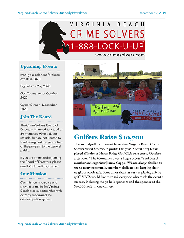 2019-12-19 VB Crime Solvers Newsletter